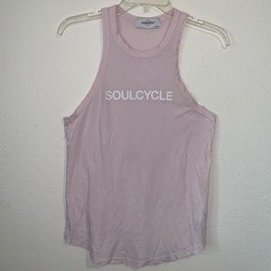 SoulCycle Pink Racerback Tank Top White Medium